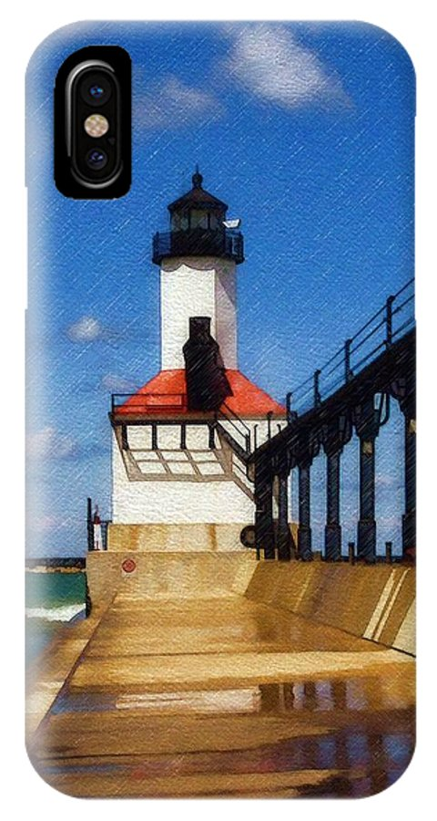 Lighthouse IPhone X Case featuring the photograph Michigan City Light 1 by Sandy MacGowan
