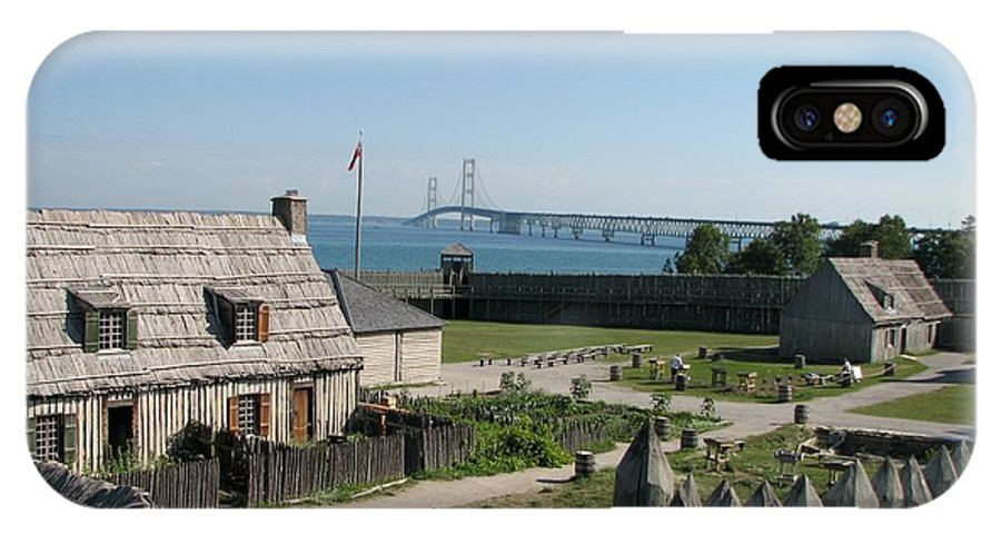 Colonial Michilmackinac IPhone X Case featuring the photograph Michilimackinac And Mackinac Bridge by Keith Stokes