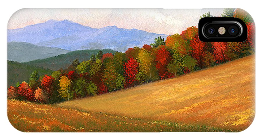 Landscape IPhone X Case featuring the painting Mid Autumn by Frank Wilson