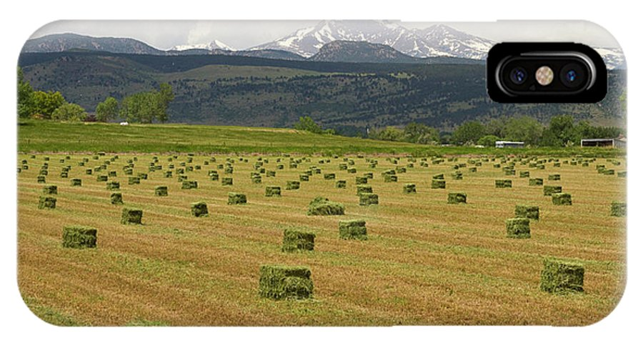 Country IPhone X Case featuring the photograph Mid June Colorado Hay And The Twin Peaks Longs And Meeker by James BO Insogna