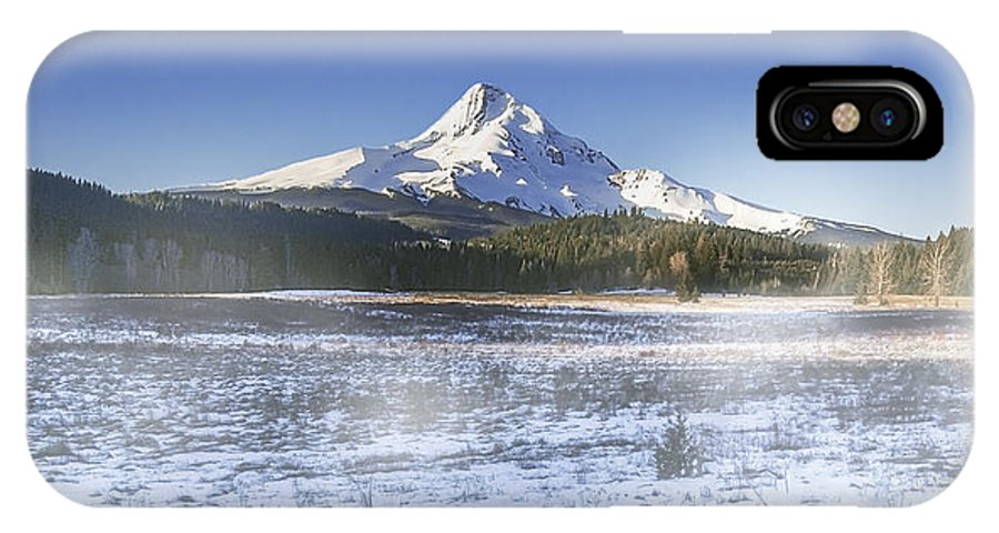 Mountain IPhone X Case featuring the digital art Mid-winter Morning by John Christopher