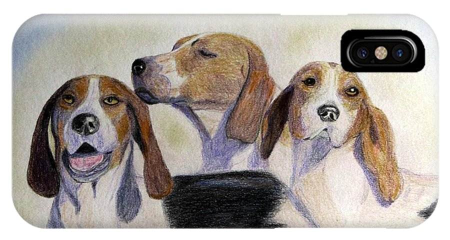Foxhunting IPhone X Case featuring the drawing Middleburg Hounds by Angela Davies