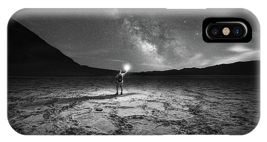 Badwater Basin IPhone X Case featuring the photograph Midnight Explorer At Badwater Basin Bw by Michael Ver Sprill