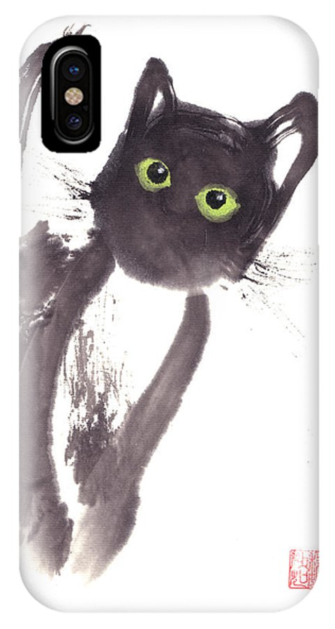 A Curious Black Kitten. This Is A Contemporary Chinese Ink And Color On Rice Paper Painting With Simple Zen Style Brush Strokes.  IPhone X Case featuring the painting Midnight by Mui-Joo Wee