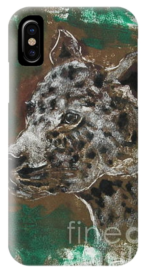 Monotype IPhone X Case featuring the mixed media Midnight Prowler by Cori Solomon