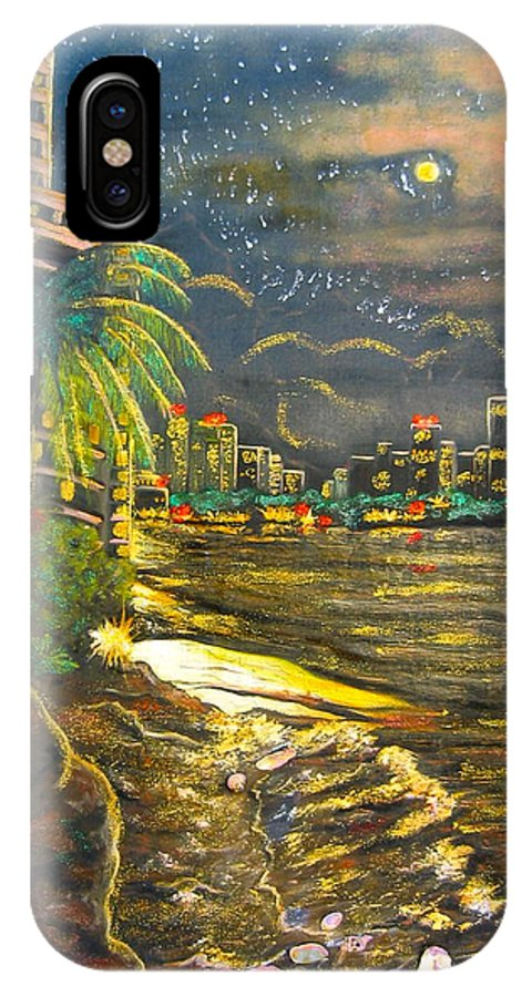 City Lights IPhone X Case featuring the painting Midnight Sun by V Boge