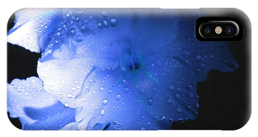 Flower IPhone X Case featuring the photograph Midnite Aroma Blue by Debbie May