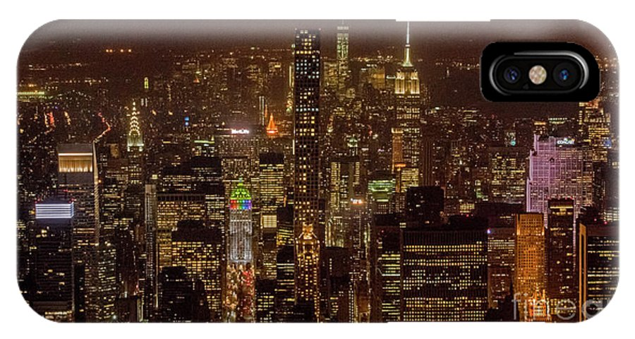 Midtown IPhone X Case featuring the photograph Midtown Manhattan Skyline Aerial At Night by David Oppenheimer