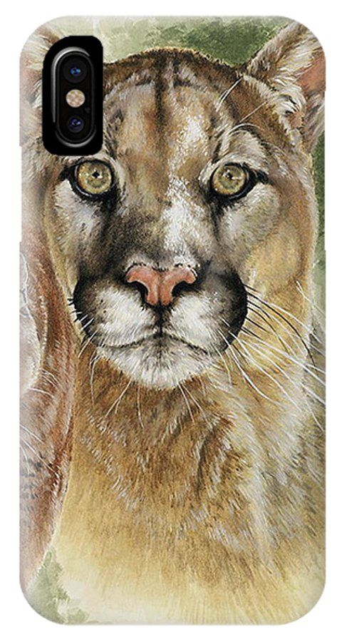 Cougar IPhone X Case featuring the mixed media Mighty by Barbara Keith