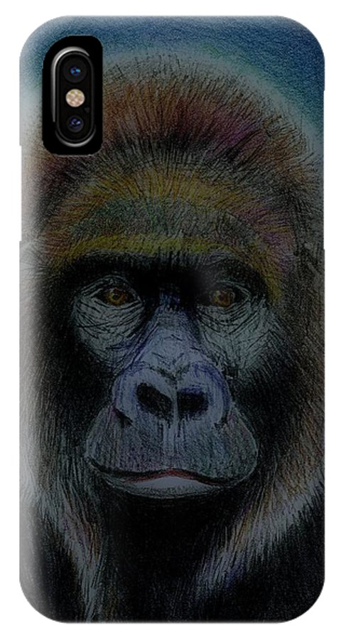 Gorilla IPhone X Case featuring the drawing Mighty Gorilla by Arline Wagner