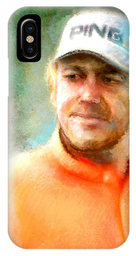 Golf Champion IPhone X Case featuring the painting Miguel Angel Jimenez by Miki De Goodaboom