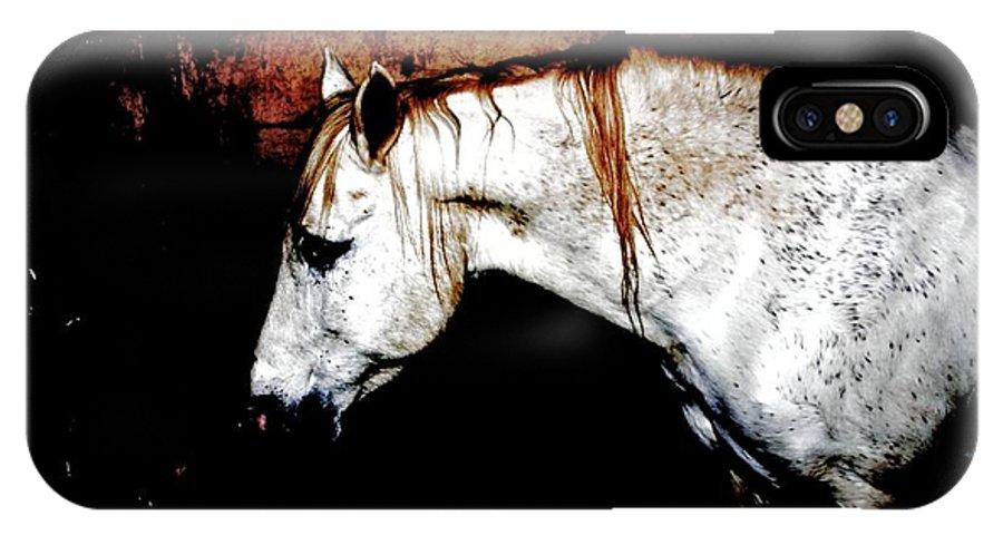 Horse IPhone X Case featuring the digital art Mike's Star by Dawn Johansen