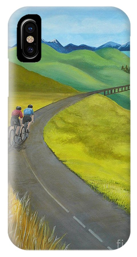 Bicycles IPhone X / XS Case featuring the painting Miles To Go by Kris Crollard