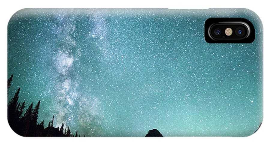 Tree IPhone X Case featuring the photograph Milky Way // Two Medicine Lake, Glacier National Park by Nicholas Parker