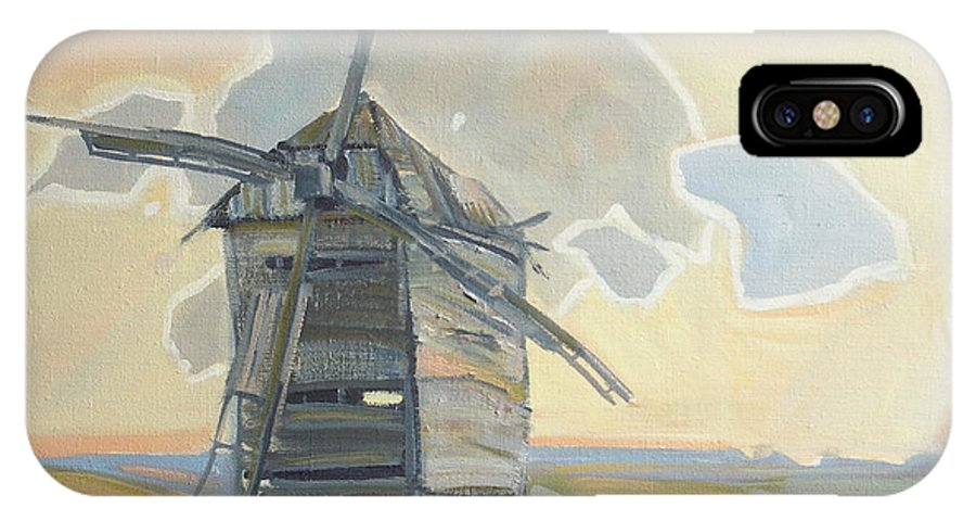 Oil IPhone X / XS Case featuring the painting Mill by Sergey Ignatenko