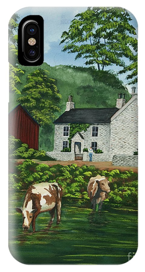 Cows IPhone X Case featuring the painting Milldale In Staffordshire by Charlotte Blanchard