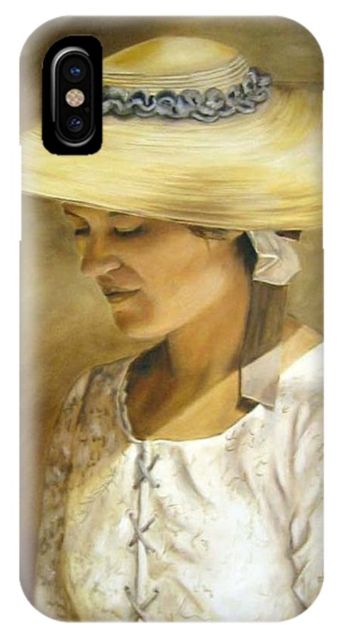 Portrait IPhone X Case featuring the painting Milliners Daughter by Anne Kushnick