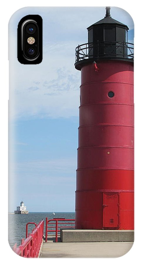 Milwaukee IPhone X Case featuring the photograph Milwaukee Harbor Lighthouse by Anita Burgermeister