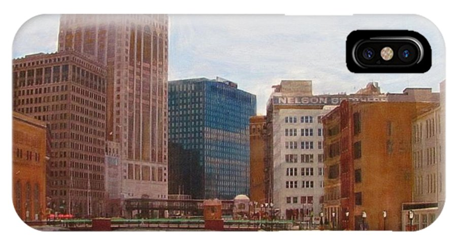Milwaukee IPhone X Case featuring the mixed media Milwaukee River View by Anita Burgermeister
