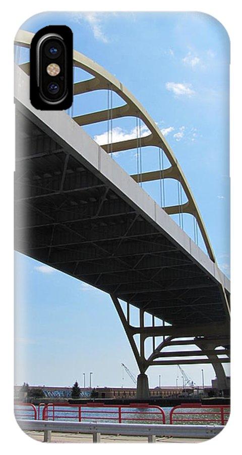 Milwaukee IPhone X Case featuring the photograph Milwaukee Under The Hoan Bridge by Anita Burgermeister