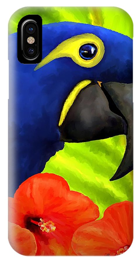 Hyacinth Macaw IPhone Case featuring the painting Mimi by David Wagner
