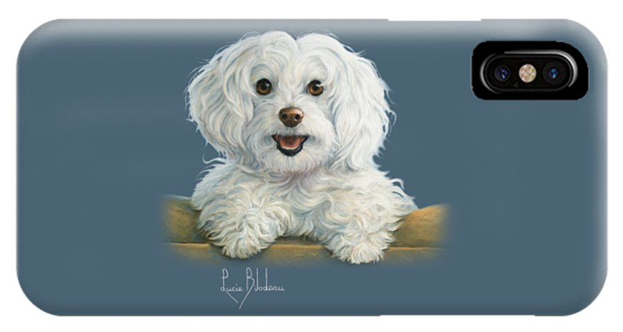 Dog IPhone X Case featuring the painting Mimi by Lucie Bilodeau