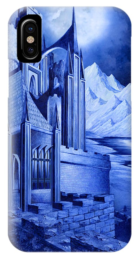 Lord Of The Rings IPhone X Case featuring the mixed media Minas Tirith by Curtiss Shaffer