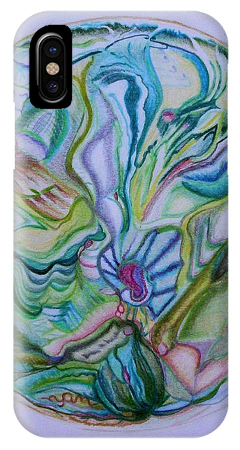 Abstract IPhone X Case featuring the drawing Mind Mandala by Suzanne Udell Levinger