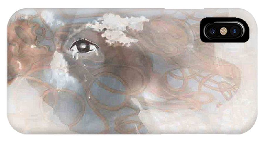 Surreal Painting IPhone X Case featuring the digital art Mind's Eye In The Clouds by Karen Henninger