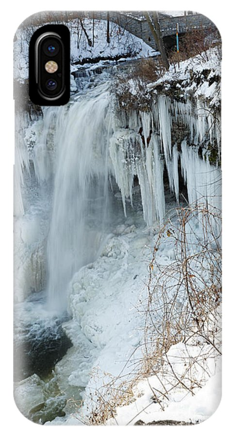 Minnehaha Falls IPhone X Case featuring the photograph Minnehaha In Winter by Natural Focal Point Photography