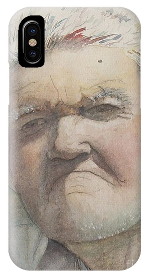 Portrait IPhone X Case featuring the painting Minnesota Farmer by Nadine Rippelmeyer