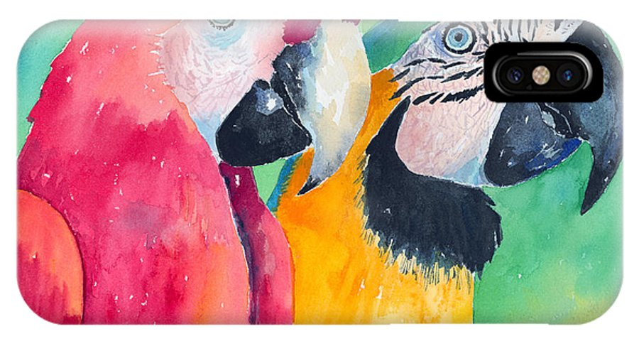 Macaw IPhone X Case featuring the painting Minnie And Boggs by Arline Wagner
