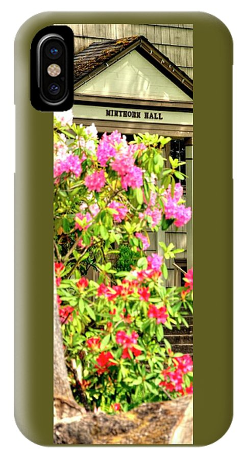 Jerry IPhone X / XS Case featuring the photograph Minthorn Hall Vp by Jerry Sodorff