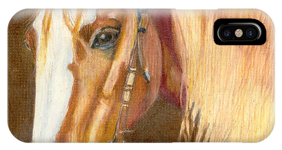 Horse IPhone X Case featuring the pastel Miss Cow Chex by Mendy Pedersen