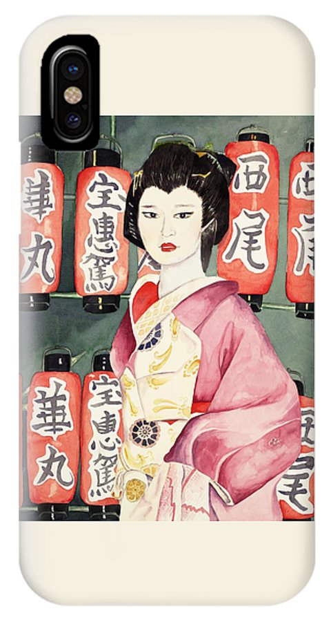 Geisha In Kimono With Red Lanterns IPhone Case featuring the painting Miss Hanamaru At Osaka Festival by Judy Swerlick