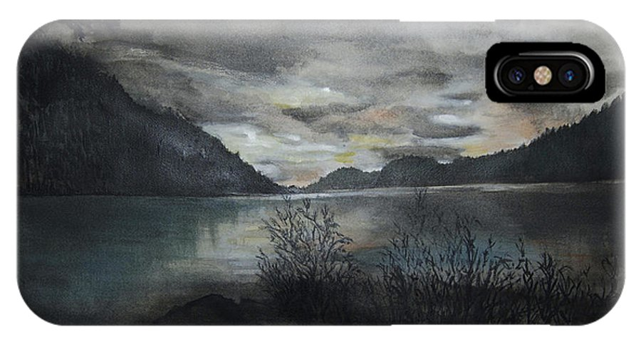 Sunset IPhone X Case featuring the painting Missezula Lake Sunset by Susan Moore