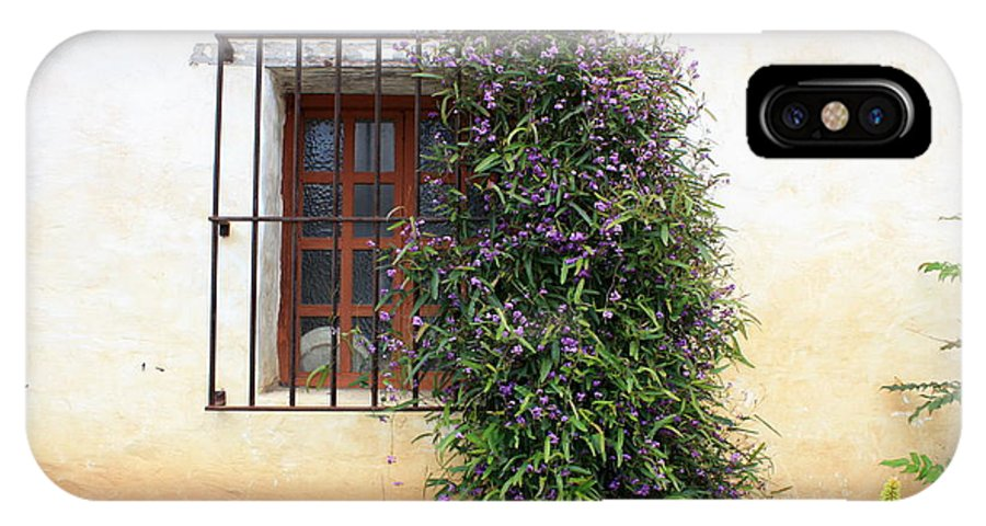 Purple Flowers IPhone X Case featuring the photograph Mission Window With Purple Flowers by Carol Groenen
