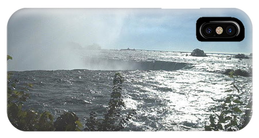 Landscape IPhone X Case featuring the photograph Mist At The Falls by Debbie Levene