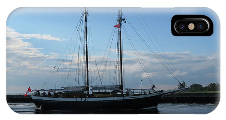 Tall Ships IPhone X Case featuring the photograph Mist Of Avalon by Alison Gimpel