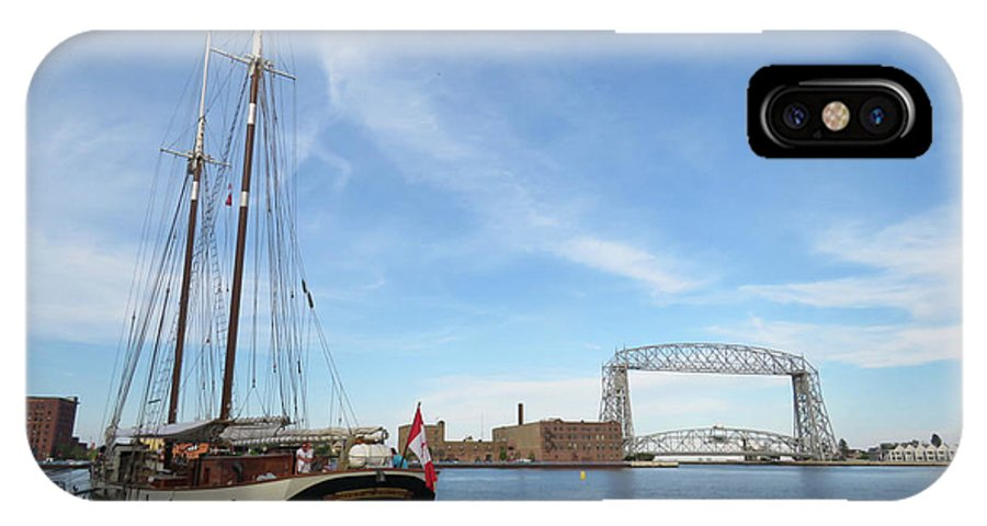 Tall Ships IPhone X Case featuring the photograph Mist Of Avalon Lift Bridge by Alison Gimpel