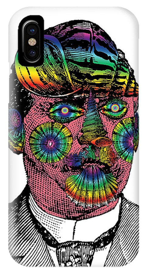 Digital Collage IPhone X Case featuring the digital art Mister Mollusk by Eric Edelman