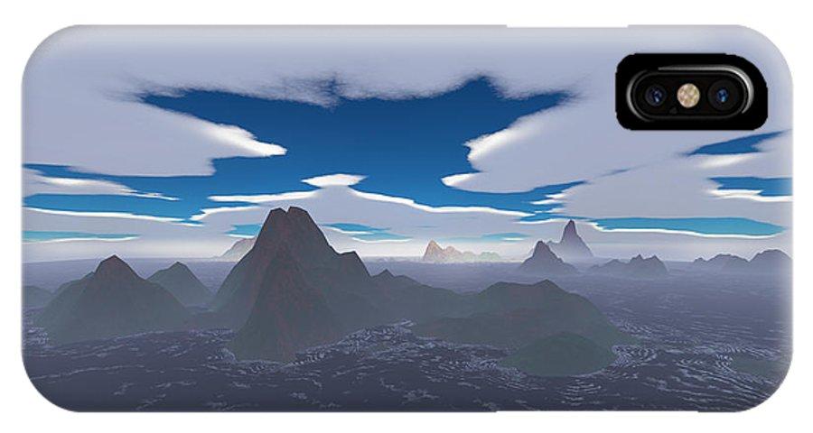Aerial IPhone X Case featuring the digital art Misty Archipelago by Gaspar Avila