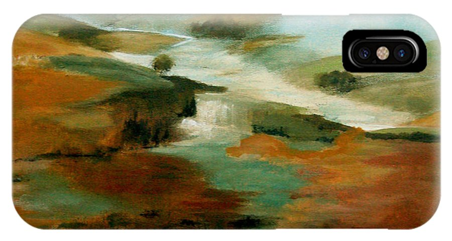 Abstract IPhone Case featuring the painting Misty Hills by Ruth Palmer