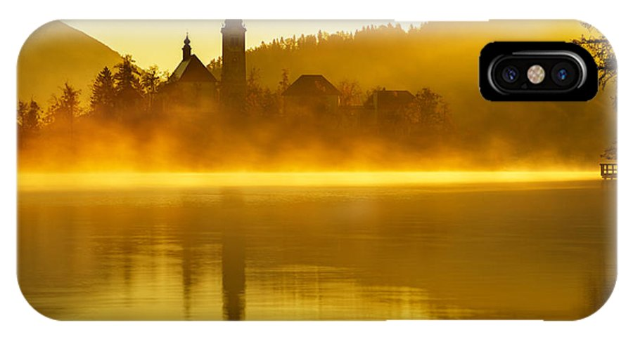 Bled IPhone X Case featuring the photograph Misty Lake Bled At Sunrise by Ian Middleton