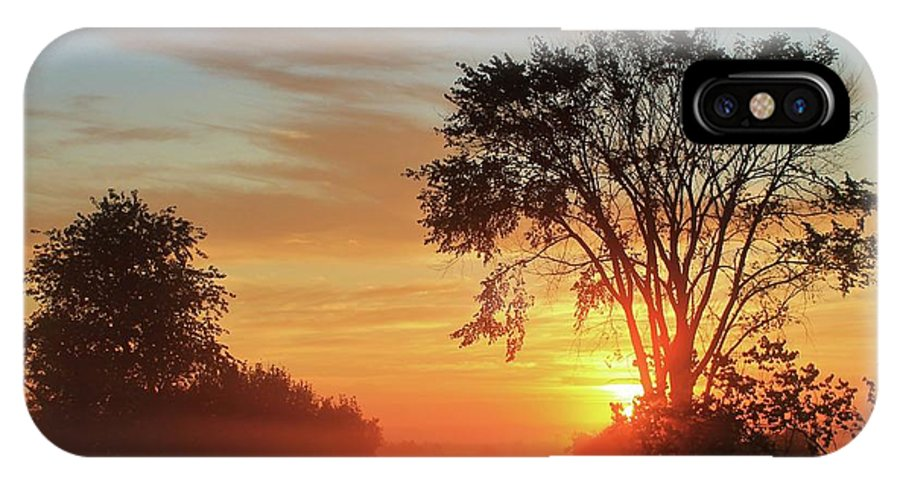 Sunrise IPhone X Case featuring the photograph Misty Morning by Connie Higgins