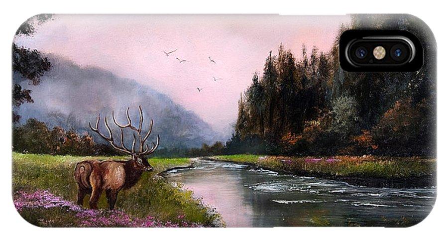 Jan Holman Art Paintings 2010 Elk IPhone X Case featuring the painting Misty Morning by Jan Holman
