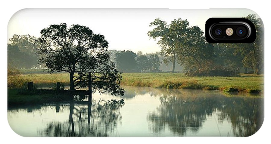 Alabama Photographer IPhone X Case featuring the digital art Misty Morning Pond by Michael Thomas