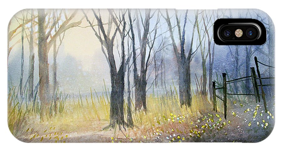 Watercolor IPhone X Case featuring the painting Misty Morning by Ryan Radke