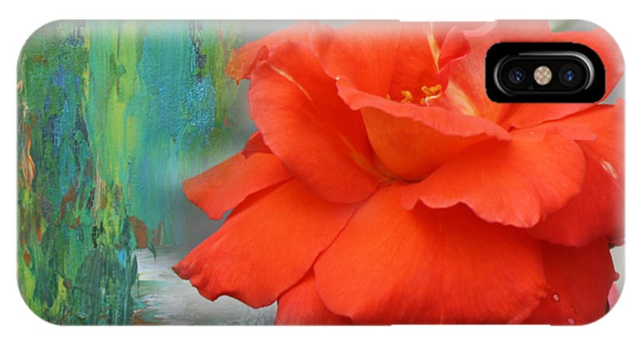 Red Rose IPhone X Case featuring the mixed media Misty Red by Cid