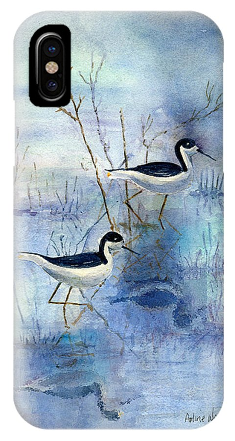 Bird IPhone Case featuring the painting Misty Swamp by Arline Wagner